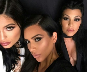 kylie jenner, kim kardashian, and kourtney kardashian image