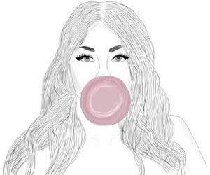 art, black&white, and bubble gum image