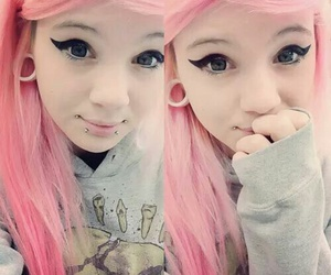 beautiful, colored hair, and piercing image