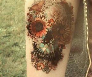 tattoo, flowers, and skull image