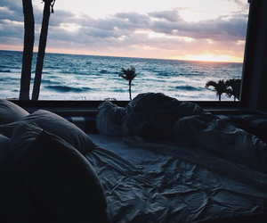 beach, bed, and ocean image