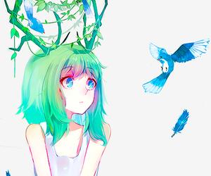 anime, bird, and anime girl image