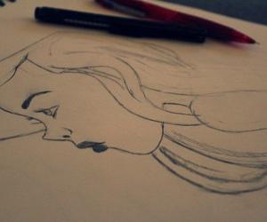 drawing, eyes, and lips image
