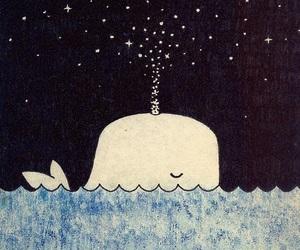 stars, whale, and sea image
