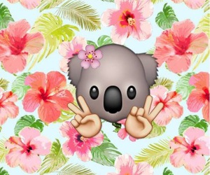 flowers, Koala, and emoji image