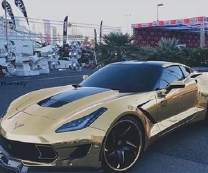 car, Corvette, and gold image