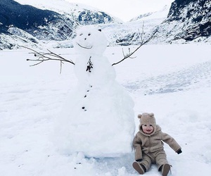 baby, snow, and snowman image