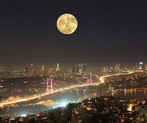 city, moon, and istanbul image