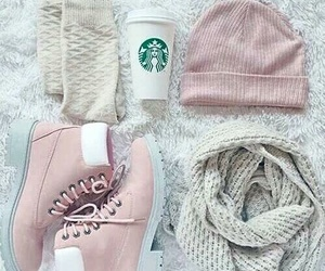 pink, starbucks, and outfit image