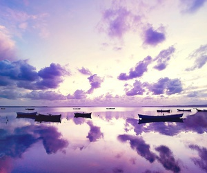 purple, clouds, and boat image