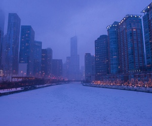 city, lights, and snow image