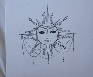 drawing, sketch, and sun image