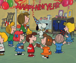 snoopy, charlie brown, and happy new year image