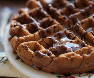 chocolate, food, and waffles image