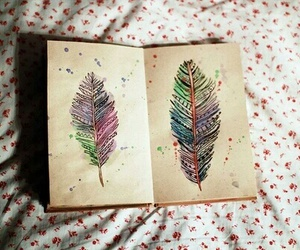 feather, art, and book image