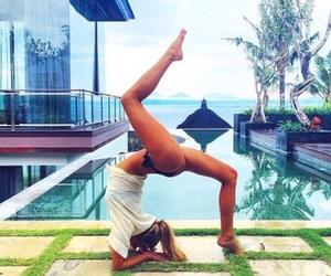 bikini, blonde, and yoga image