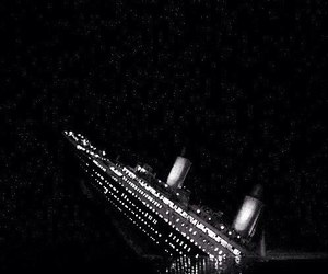 titanic, gif, and black and white image