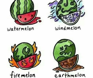 watermelon, funny, and fire image