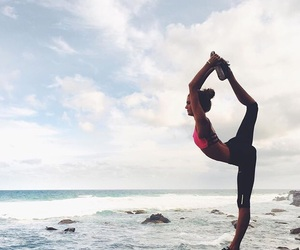 beach, yoga, and flexibility image