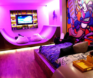 bedroom, dude, and colorful image