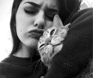 girl, cat, and piercing image