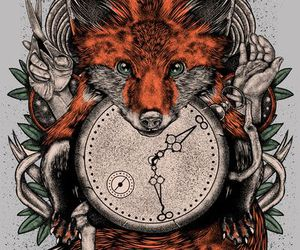 fox, art, and clock image