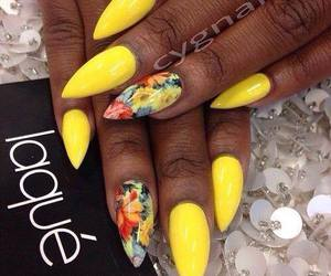 nails, yellow, and flowers image