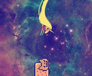 nyan cat, galaxy, and adventure time image