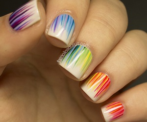 nails, rainbow, and blue image