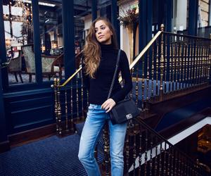 fashion, bag, and brunette image