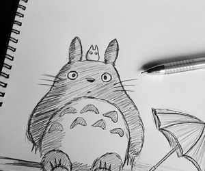 totoro, drawing, and anime image