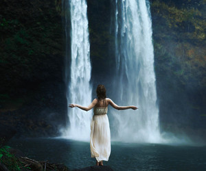 girl, photography, and waterfall image