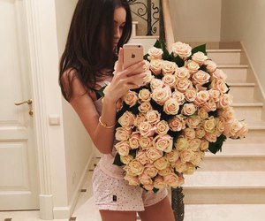 girl, flowers, and rose image