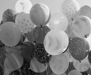 balloons and black and white image