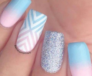 blue, nails, and glitter image