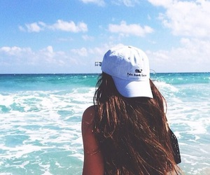 beach, hair, and hat image