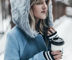 coat, winter, and coffee image