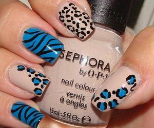 blue, nail art, and leopard print image