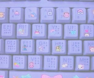 pastel, purple, and keyboard image