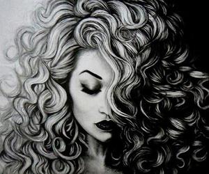 art, drawing, and hair image