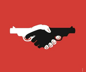 gun, hands, and black image