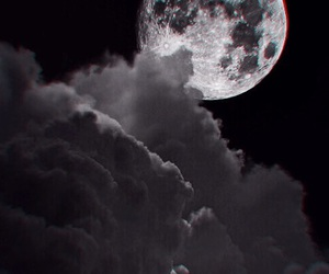 black, moon, and night image