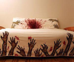 bed, zombie, and blood image