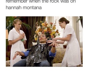 hannah montana, the rock, and funny image