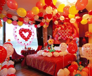 balloons, bed, and love image
