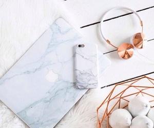 headphones, iphone, and macbook image