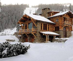 cabin, house, and snow image