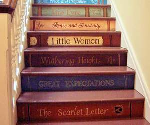 books and stairs image