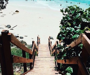 beach, ocean, and stairs image