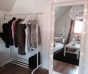 room, clothes, and mirror image